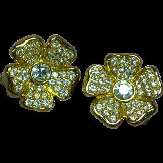 Joan Rivers  Designer Signed Iconic Rhinestone Flower Clip Earrings