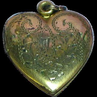 Vintage Gold Filled Heart Shaped Locket Sterling Vermeil Necklace Pendant