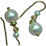 Vintage 14 Karat Yellow Gold Pearl Drop Pierced Earrings
