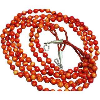 Native American Indian 3 Strand Salmon Red Coral Sterling Necklace