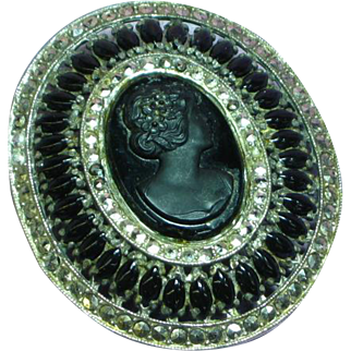 Victorian Revival Black Glass Cameo Cut Steel Rhinestones Large Ornate Mourning Brooch Pin.