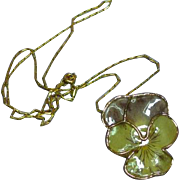 "Real Pansy Flower in Acrylic Pendant 24"" Necklace"