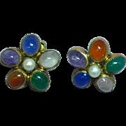 Gold Filled Signed Fabulous Gemstone Earrings