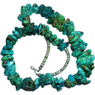 Amazing Museum Quality AUTHENTIC Native American Indian Turquoise Chunk Estate Necklace