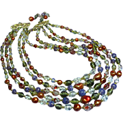 Art Glass Crystal Purple Red Five Strand Japan Necklace