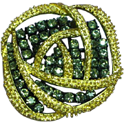 Black Diamond Rhinestone Two Section Pin Brooch