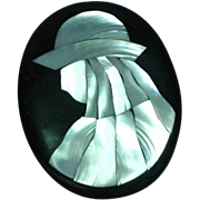 Large Lady Hat Figural  Black Plastic Abalone Mother of Pearl Inlay Pin Brooch
