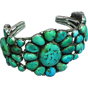 Native American Indian Massive Navajo Turquoise Old Pawn Cluster Bracelet