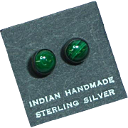 Native American Indian Vintage Sterling Silver Malachite Stud Pierced Earrings