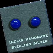 Native American Indian Vintage Sterling Silver Lapis Stud Pierced Earrings