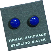 Native American Indian Vintage Sterling Silver Lapis Stud Pierced Earrings