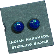 Native American Indian Vintage Sterling Silver Azurite Stud Pierced Earrings