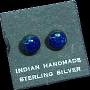 Native American Indian Vintage Sterling Silver Azurite Stud Pierced Earrings