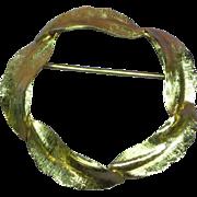 Lovely 12K Gold Filled Circle Eyeglass Holder Brooch Pin
