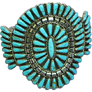 Spectacular Native American Indian Turquoise Petit Point  Sterling Silver Signed Cuff Bracelet