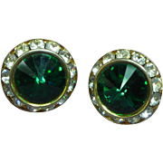 Green Rivoli & Rhinestone Clip Earrings