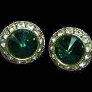 Green Rivoli & Rhinestone Clip Earrings