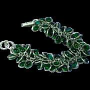 Sterling Silver, Green Cha-Cha  Linked Petite, Romantic, Boho Bohemian Bracelet