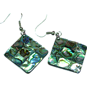 Gorgeous Inlay Mosaic  Abalone Shell on Mother of Pearl Pierced Earrings