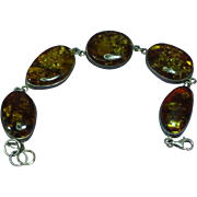 Amber Genuine Baltic 5 Large Oval Link Sterling Silver Bracelet