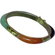 Jade Encased Yellow Gold Plate Bangle Bracelet