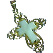 Michael Anthony Fabulous 10k Yellow Gold Mother of Pearl Cross Necklace Pendant