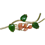 10K Gold Hand Carved Coral Rose Buds with Jade Leaves Brooch Pin