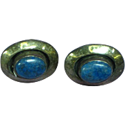 Native American Indian Signed Sterling Silver Denim Lapis Pierced Earrings