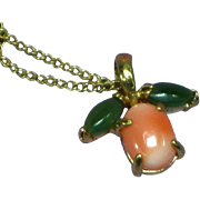 Krementz Jade and Coral Necklace