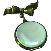 Mother-of-Pearl Double Photo Container Locket Watch Pin