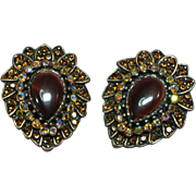 Stunning Copper Hawks Eye Rhinestone Clip Earrings