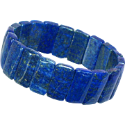 Beautiful Genuine Lapis Chicklett Shape Stretch Bracelet