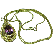 Stunning 14K Yellow Gold Amethyst Vinaigrette Locket Pendant Necklace