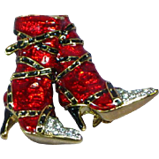 Enamel Red High Heel Rhinestones Boots Pin Brooch