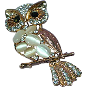 Rhinestones Cats Eye Cabochon Wise Old Owl Figural Pin Brooch