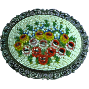 Micro Mosaic Victorian Era  Flowers 800 Silver Brooch Pin