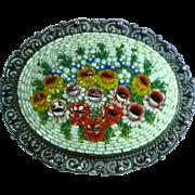 Micro Mosaic Victorian Era  Flowers 800 Silver Brooch Pin