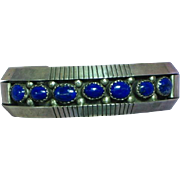 Native American Indian Sterling Silver Signed Lapis Lazuli  Heavy Cuff Bracelet