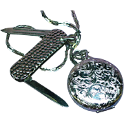Chatelaine Pocket Watch Style Locket and Pin Knife on Chain