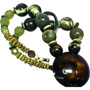 Carved Horn Large Bead Bold Runway Worthy Couture Necklace