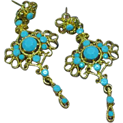 Turquoise Rhinestones in Gold-Tone Filigree Dangle Pierced Earrings