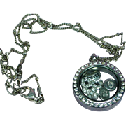 Crystal Locket Rhinestones Keepsake Pendant Necklace