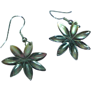 Carved Abalone Flower Pierced Earrings