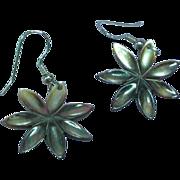 Carved Abalone Flower Pierced Earrings