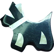 Black Plastic Inlay Iridescent Mother of Pearl Scottie Dog Figural Pin Brooch