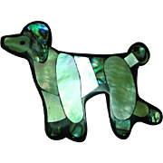 Black Plastic Inlay Iridescent Mother of Pearl Abalone Poodle Dog Figural Pin Brooch