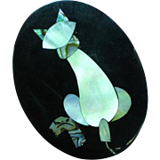 Black Plastic Inlay Iridescent Mother of Pearl Abalone Cat Figural Pin Brooch