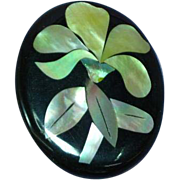 Black Plastic Inlay Iridescent Mother of Pearl Abalone Flower Floral Figural Pin Brooch