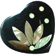 Black Plastic Inlay Iridescent Mother of Pearl Abalone Heart Flower Floral Figural Pin Brooch