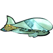 Black Plastic Inlay Iridescent Mother of Pearl Abalone Whale Figural Pin Brooch